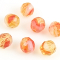 Fire Polished Givre Beads 8 mm Yellow-Red 10 pcs