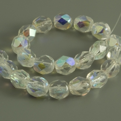 Czech Fire Polished Beads 6 mm Transparent 20 pcs