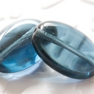 Czech Glass Oval Beads 18x13 mm Gray-Blue 6 pcs