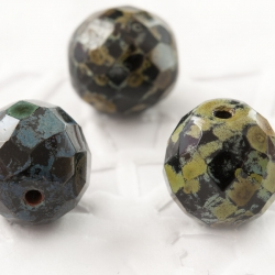 Czech Fire Polished Beads 12 mm Gray-Green Picasso 4 pcs