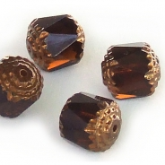 Cathedral Fire-Polished Beads 10x9 mm Brown 4 pcs