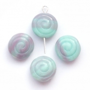 Czech Glass Snails 13 mm turquoise-lilac 6 pcs