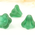 Czech Glass Bells 10x13 mm Green Matt 4 pcs