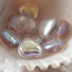 Czech Glass Hearts 8 mm Luster Light Pink 10 pcs