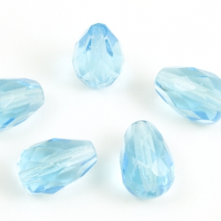 Fire Polished Pears 10x7 mm Light Blue 10 pcs