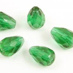 Fire Polished Pears 10x7 mm Emerald Green 10 pcs
