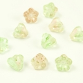 Czech Glass Baby Bells 6x5 mm Green-Pink 10 pcs