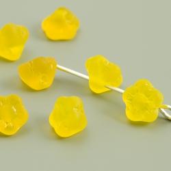 Czech Glass Beads 7mm Button Flower Yellow Matt 15 pcs