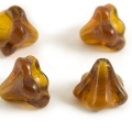 Czech Glass Bells 10x13 mm Dark Amber 4 pcs