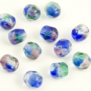 Fire Polished Beads 6 mm Blue-Green 20 pcs