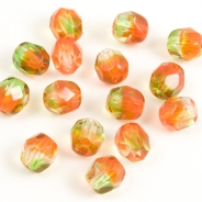 Fire Polished Beads 6 mm orange-green 20 pcs
