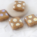 Czech Glass Beads 10 mm Beige with Finish 10 pcs
