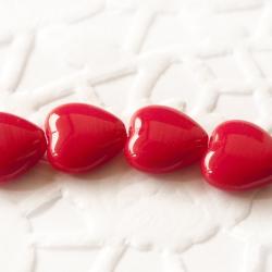 Czech Glass Hearts 10mm Red 10 pcs