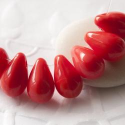 Czech Glass Drops 9x6 mm Scarlet 20 pcs