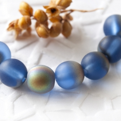 Czech Round Glass Beads 7 mm Blue AB Mat 10 pcs