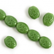 Czech Glass Beads 10x8 mm Green 10 pcs