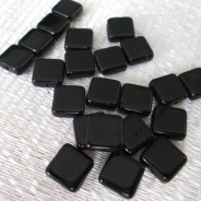 Czech Glass Square Beads 9mm Black 20 pcs
