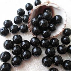 Czech Round Glass Beads 9 mm Black 10 pcs