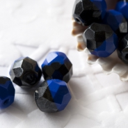 Czech Fire Polished Beads 8 mm Two-Colored Black-Blue 10 pcs