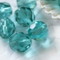Fire Polished Round Beads 8 mm Aquamarine 10 pcs